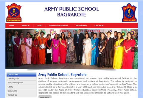 Army public School website designing
