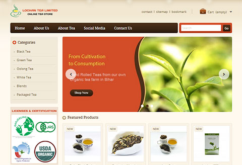 Ecommerce website designing for Lochan Tea Limited